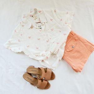 NWT Flamingo Print Cropped Hawaiian Shirt